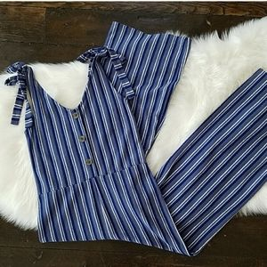 Arizona Blue Striped Pants Suit Romper
